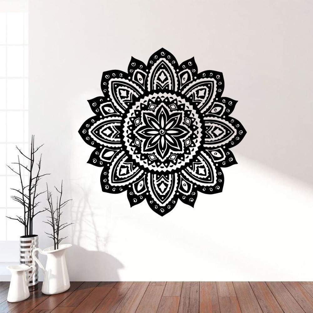 LSMYM Mandala Impermeable Pegatinas de pared Decoración para el hogar Meditación Yoga Para salas de estar Decoración Vinilo Art Decal Negro L 43cm X 42cm