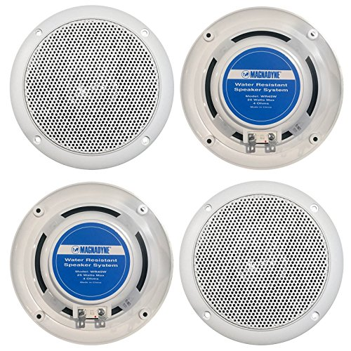 2 Pairs Of Magnadyne WR45W 5 Inch Waterproof Marine, Boat, Hot Tub, Outdoor Speaker with Integrated Plastic Grill - White