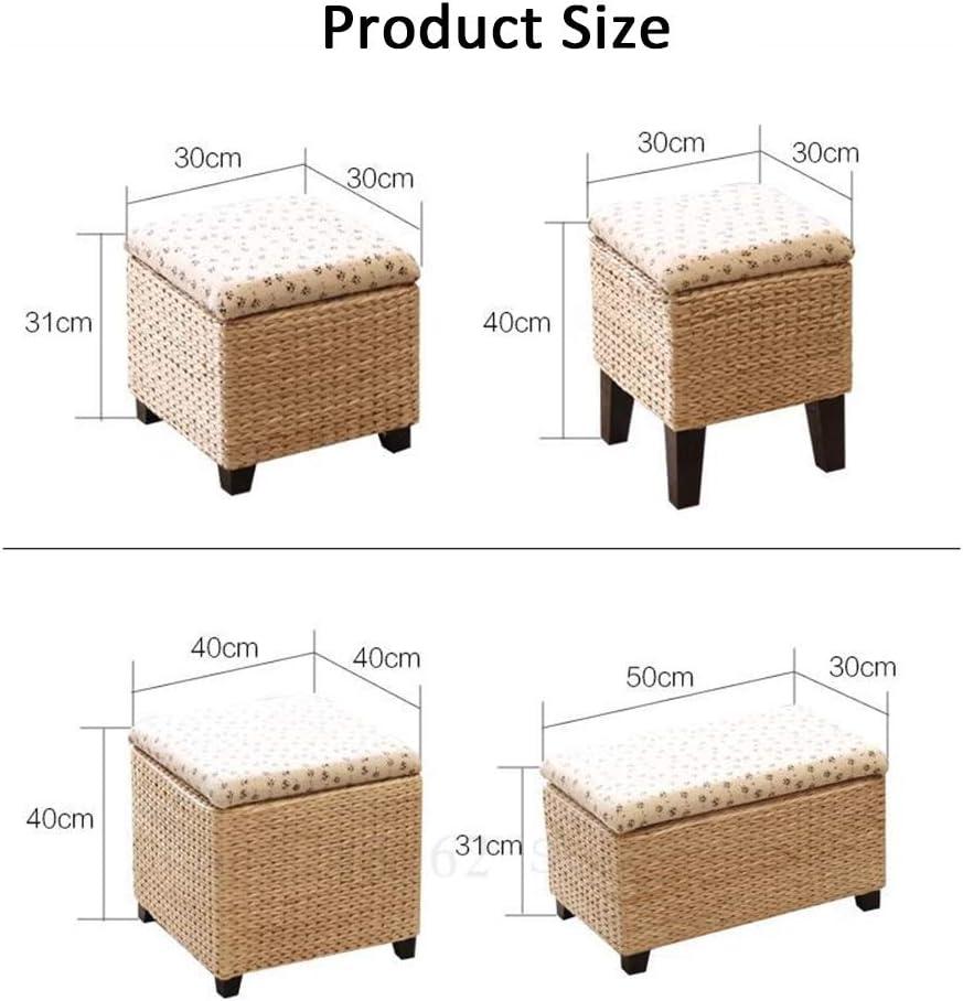 JDJD Pastoral Rebe Strohlager Stuhl Kinderspielzeug-Aufbewahrungsbehälter europäischen Feste Wechsel Holz Stroh Aufbewahrungsbox Schuhe Hocker Osmanen (Color : Style8) Style2