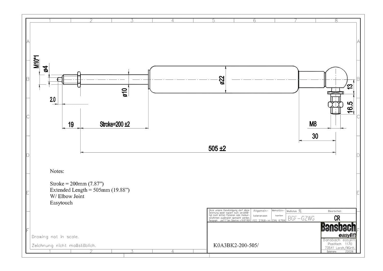 Bansbach Easylift K0A3BK-2-200-505-890N B-Locking Gas Spring Stroke 200mm Force 890N 200lbs