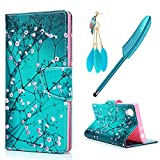 Sony Xperia L1 Case MAXFE.CO Xperia L1 PU Leather Case Shockproof Folio Flip Wallet Magnetic Stand Cover with Card Slots for Sony L1 & One Touch Pen & One Dust Plug, Kapok Flower in Green Background