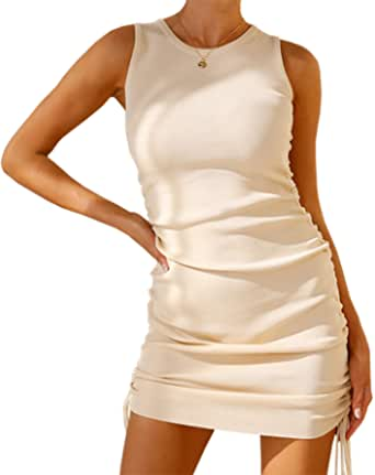 BTFBM Women Sleeveless Bodycon Ruched Short Dress Side Drawstring Solid Crew Neck Casual Summer Tank Shirt Mini Dresses