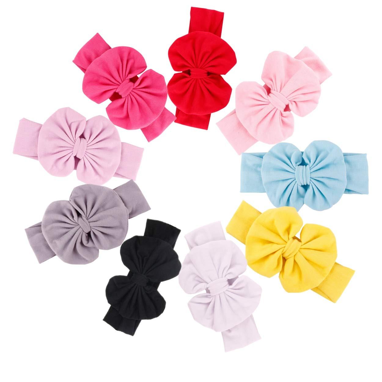 GUIFIER 9 PCS Bandeaux bébé fille avec des arcs Bandeau bébé fille en coton Turban Bandeau à nœud noué Arc à cheveux pour les bébés filles