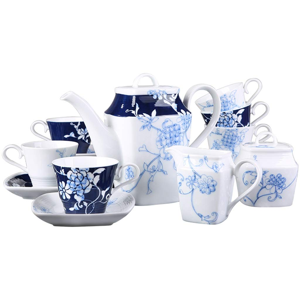 CSQ Coffee Cup Vintage Ceramic Tea Set, Coffee Pot Set of Nine Meeting Room Outdoor Teapot Capacity: 1200ml Afternoon Tea (Color : Light Cyan)