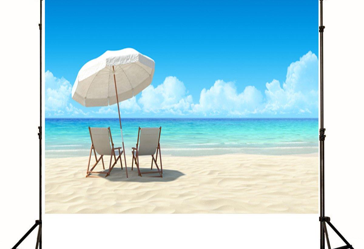 ML写真撮影背景幕10 ftホワイト椅子ビーチフォト背景アウトドアシームレスな背景背景幕for Summer Holiday   B07DGVN7XG