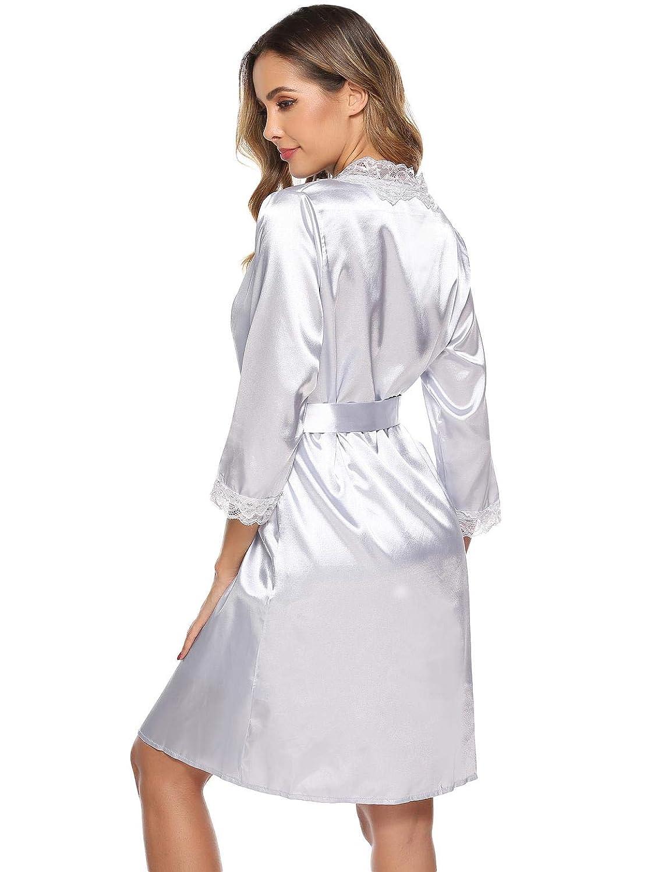 Abollria Women Sleepwear 2 Pieces Satin Nightwear Silk Dressing Gown Kimono Robe with Strap Nightdress for Ladies Loungewear