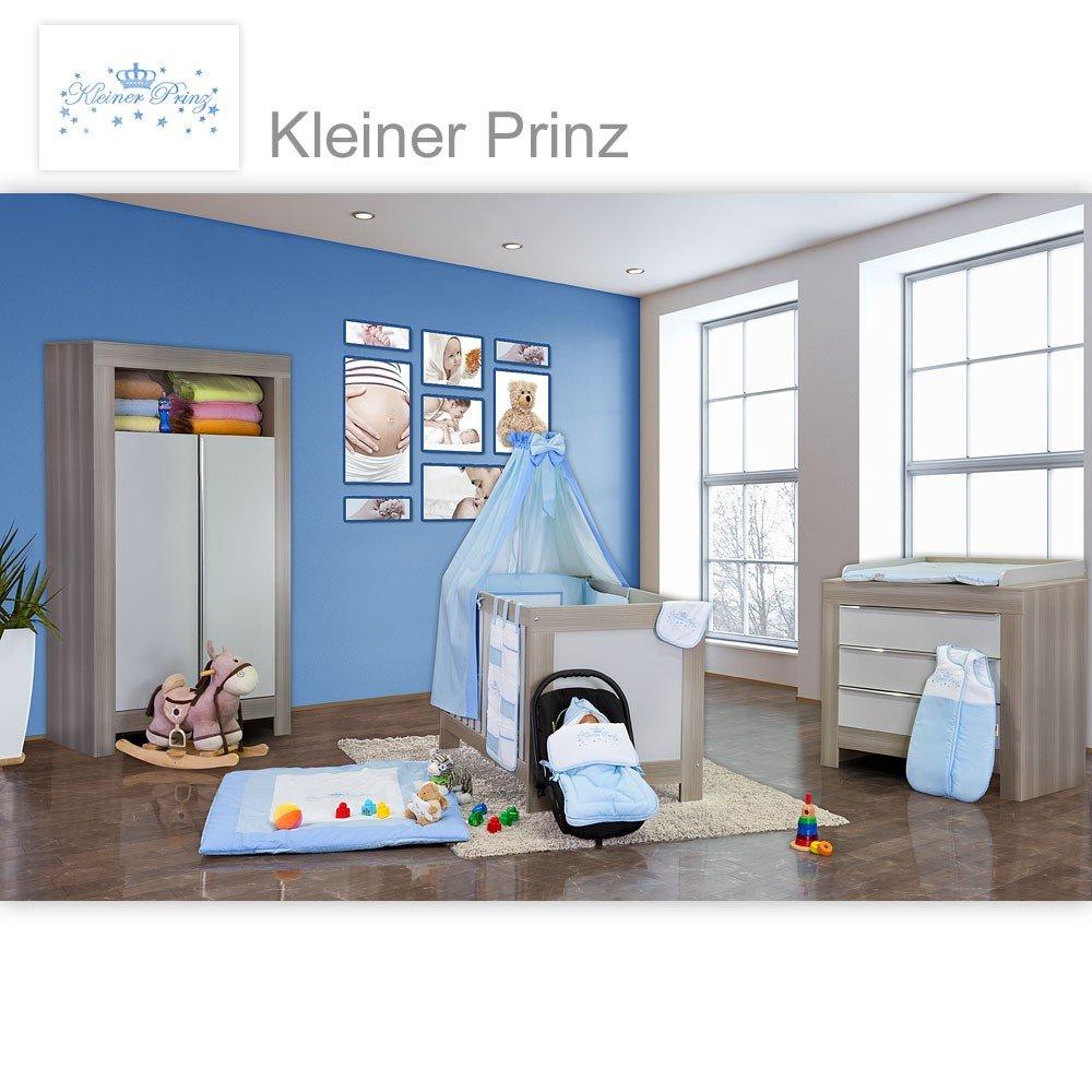 Babyzimmer Felix in akaziengrau 10 tlg. mit 2 türigem Kl. + Kleiner Prinz Blau