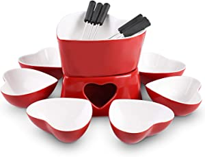[Bigger Size and Improved] Zen Kitchen Fondue Pot Set, Glazed Ceramic Fondue Set for Chocolate Fondue or Cheese Fondue – Perfect Gift Idea for Housewarming or Birthday Gift (Cherry Red)