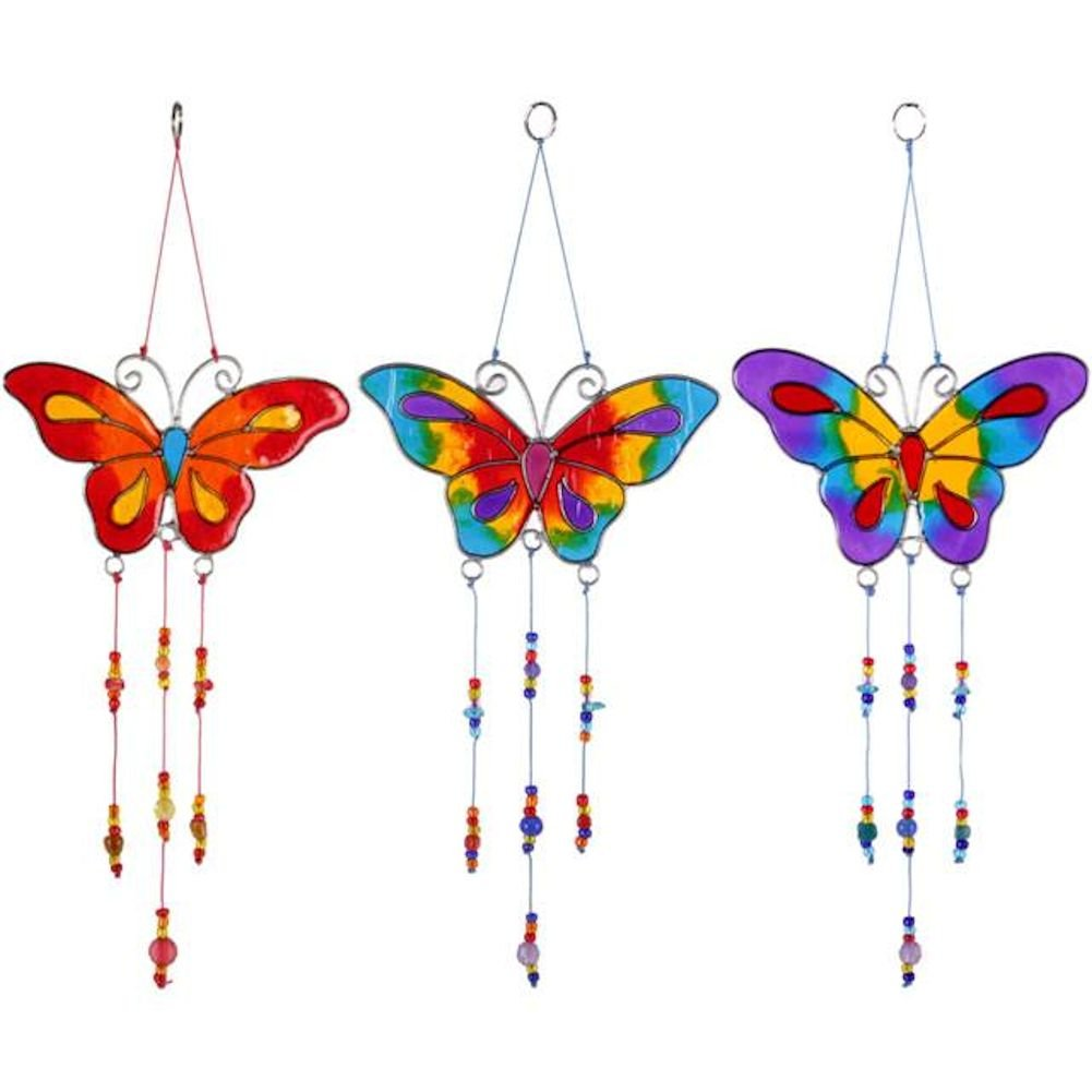 Butterfly Suncatchers (set of 3) Hanging Mobile Stained Glass Effect Sun Catcher Something Different