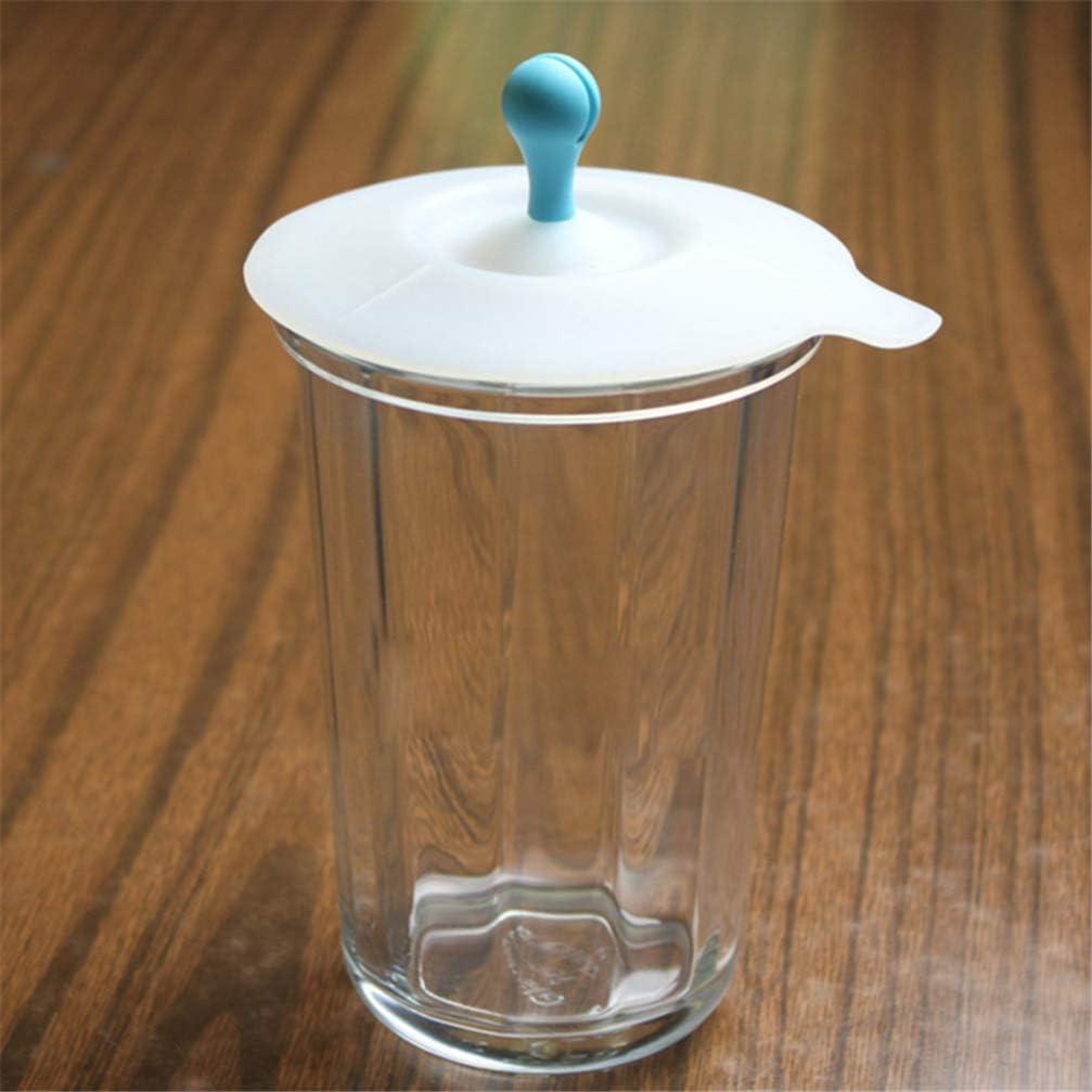 UPKOCH Tapa de la Taza de Silicona La Taza Cubre la Forma del Brote de Frijol Tapa Antipolvo Tapas a Prueba de Fugas 5 Piezas Color ramdom