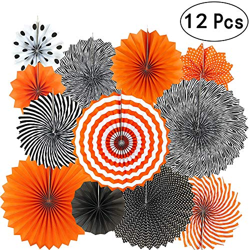 Accessories Event - Diagtree Party Hanging Paper Fans Set, Round Pattern Paper Garlands Decoration for Birthday Wedding Graduation Events Accessories (Black Orange)
