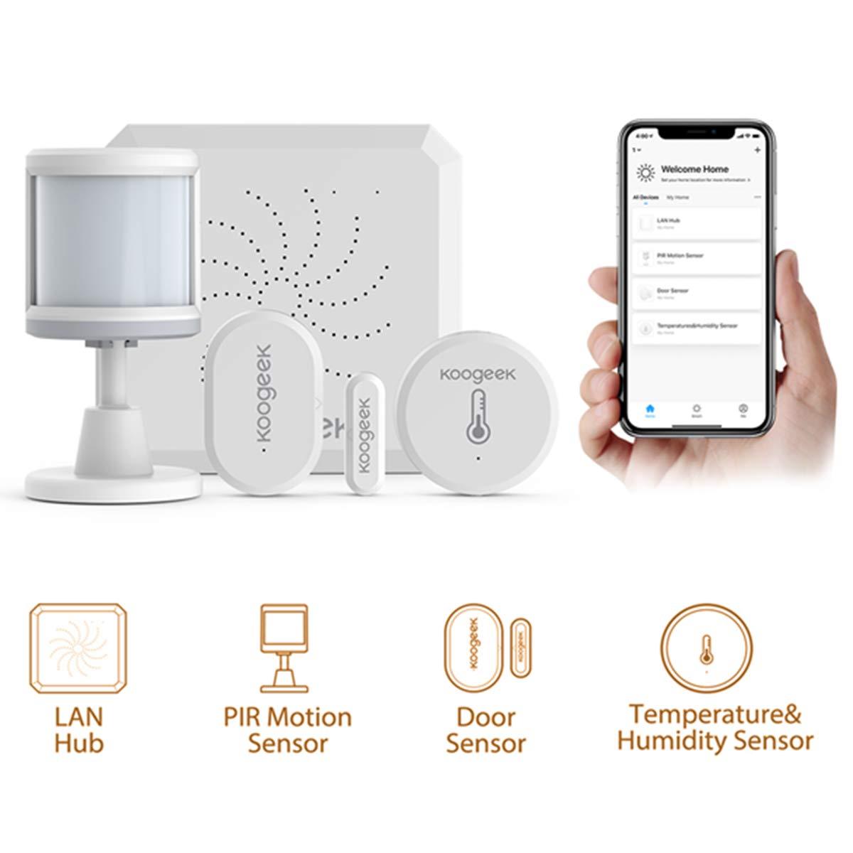 Koogeek Sistema de Seguridad Hogar, Sensor de Puerta Wifi, Kit de Alarma Zigbee, Alexa/Google Assistant,4 piezas Incluye Hub/Sensor de Puerta/PIR Movimiento/Temperatura y Humedad, IOS y Andriod