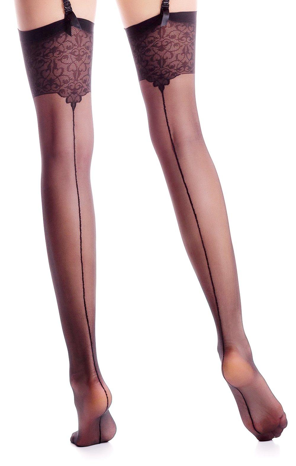 Thigh High Seamed Stockings for Garter Belt Patterned Top Back Seam S M L (M, Black 01)