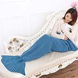 Mermaid Tail Blanket by OKAYSHOP, Warm Sofa Living room Knitting Polyster blanket, Sleeping Bag for Adults 190cmX90cm(74.8 inch x35.4 inch )