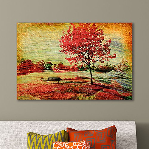 Beautiful Autumn View of a Bench under a Bright Colored Autumn Tree Gallery