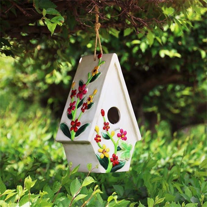 Vobajf Nido de pájaros, creativo, decoración al aire libre, opción de regalo perfecto para niños, artes retro y manualidades, cabañas rurales, comedero de pájaros, casa de madera al aire libre