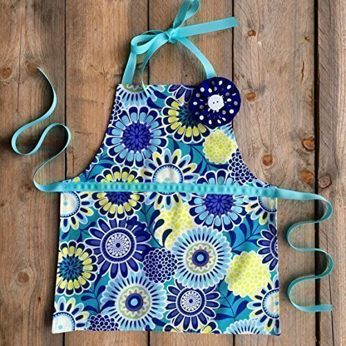 Reversible Toddler Girl Apron for Kitchen or Art (Chevron Flower Girl Basket)