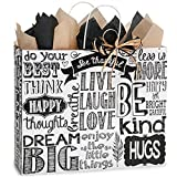 Chalkboard Sentiments Paper Shopping Bags - Vogue Size - 16 x 6 x 13in. - 150 Pack