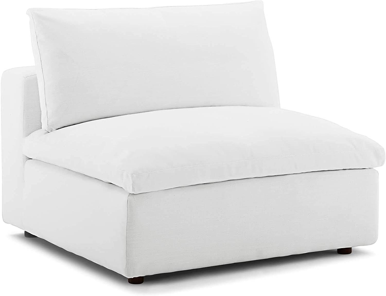 Modway Commix Down-Filled Overstuffed Upholstered Sectional Sofa Armless Chair in White