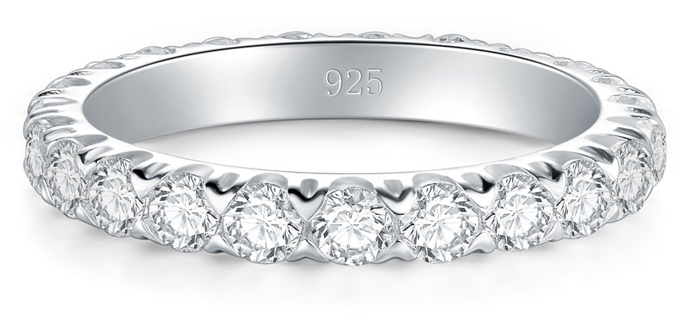 BORUO 925 Sterling Silver Ring, Cubic Zirconia CZ Wedding Band Stackable Ring 3mm Size 5 by BORUO (Image #2)