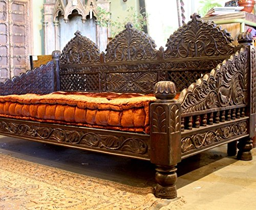 Worldcraft Industries Jhula Carved Day Bed (88x44x36) - Carved Indian Furniture