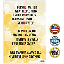 ZENDORI ART 'Never Give Up' Motivational Quotes Wall Art - Made in USA (Poster on Canvas Paper, 12 x 18)