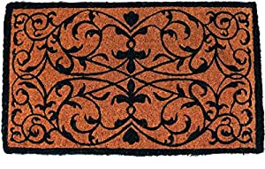 Entryways Iron Grate Rectangle Extra Thick Hand Woven Coir Doormat, 18 by 30-Inch