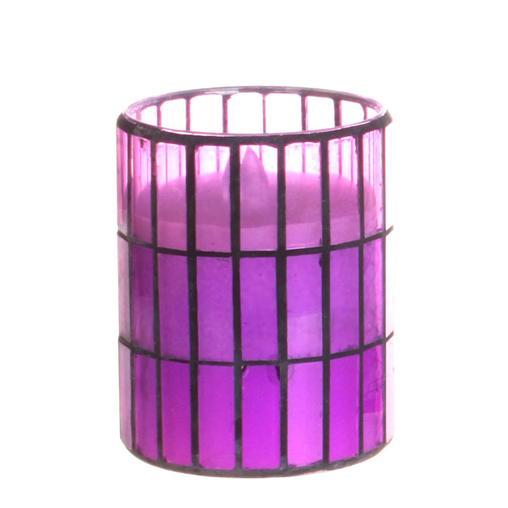 Tiled Pattern Mosaic Glass Flameless Pillar Led Wax Candle Light with Timer