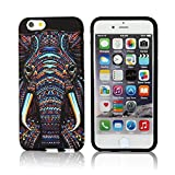 CLOUDS iPhone 6 Plus Case, Night Glow, Cool Cute Elephant HD Vintage Tribe Animal Pattern Design Rubber Gel Flexible Durable Soft Protective Cover, Elephant