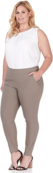 Rekucci Curvy Woman Ease in to Comfort Fit Modern Skinny Plus Size Pant w/Tummy