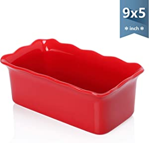 Sweese 519.104 Porcelain loaf pan for Baking, Non-Stick Bread Pan Cake Pan, Perfect for Bread and Meat, 9 x 5 inches, Red