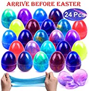 FLY2SKY 24pcs Easter Eggs Easter Basket Stuffers Galaxy Egg Slime Easter Eggs Fillers 12 Colors Easter Party Favors Non Stic