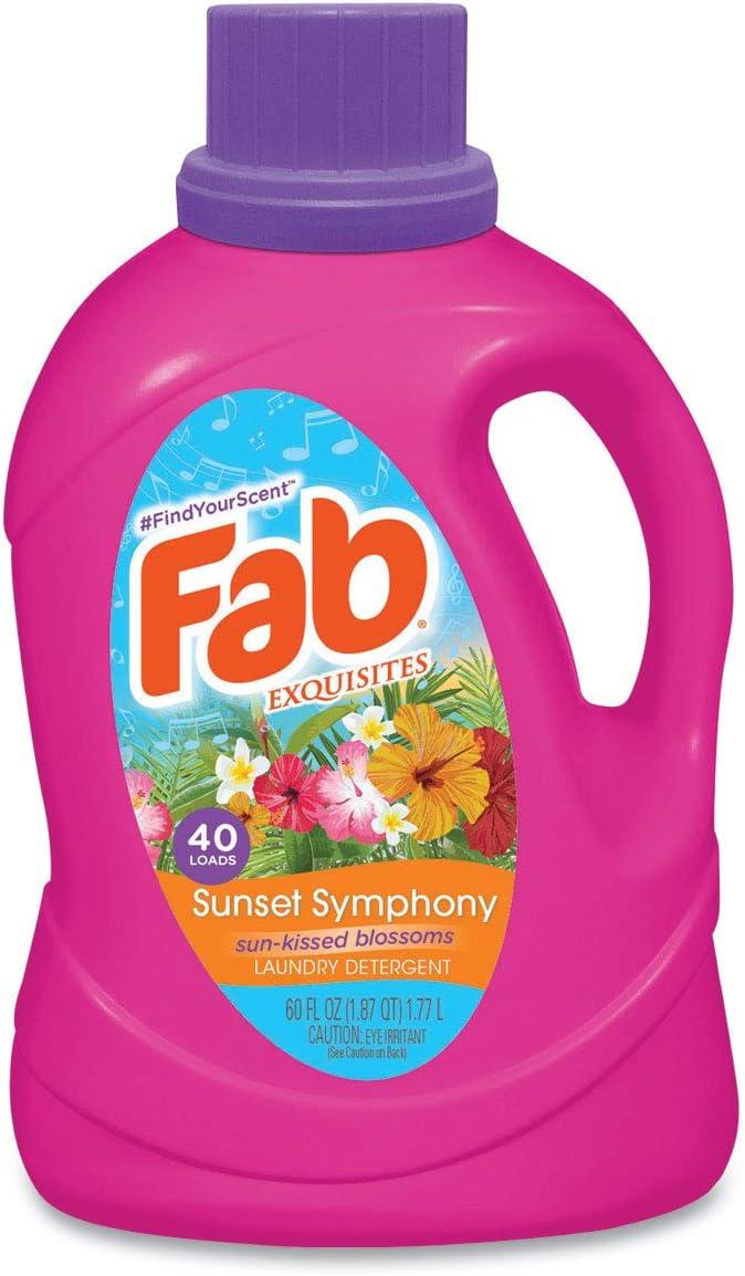 Fab Scented Laundry Detergent, Sunset Symphony, 60 oz Bottle, 6/Carton