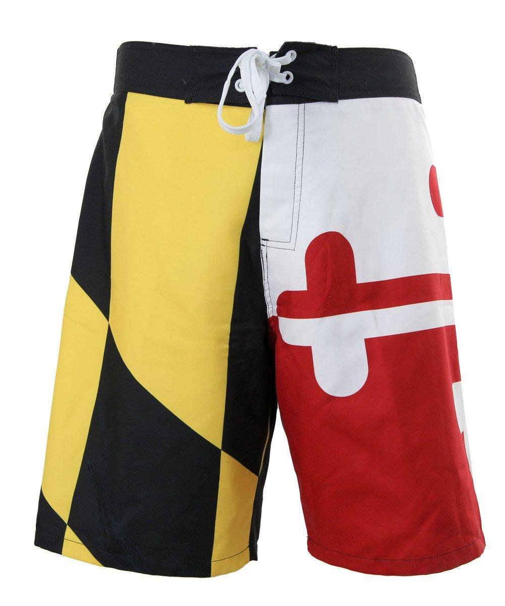 Calhoun Mens Maryland State Flag Boardshorts (X-Large)
