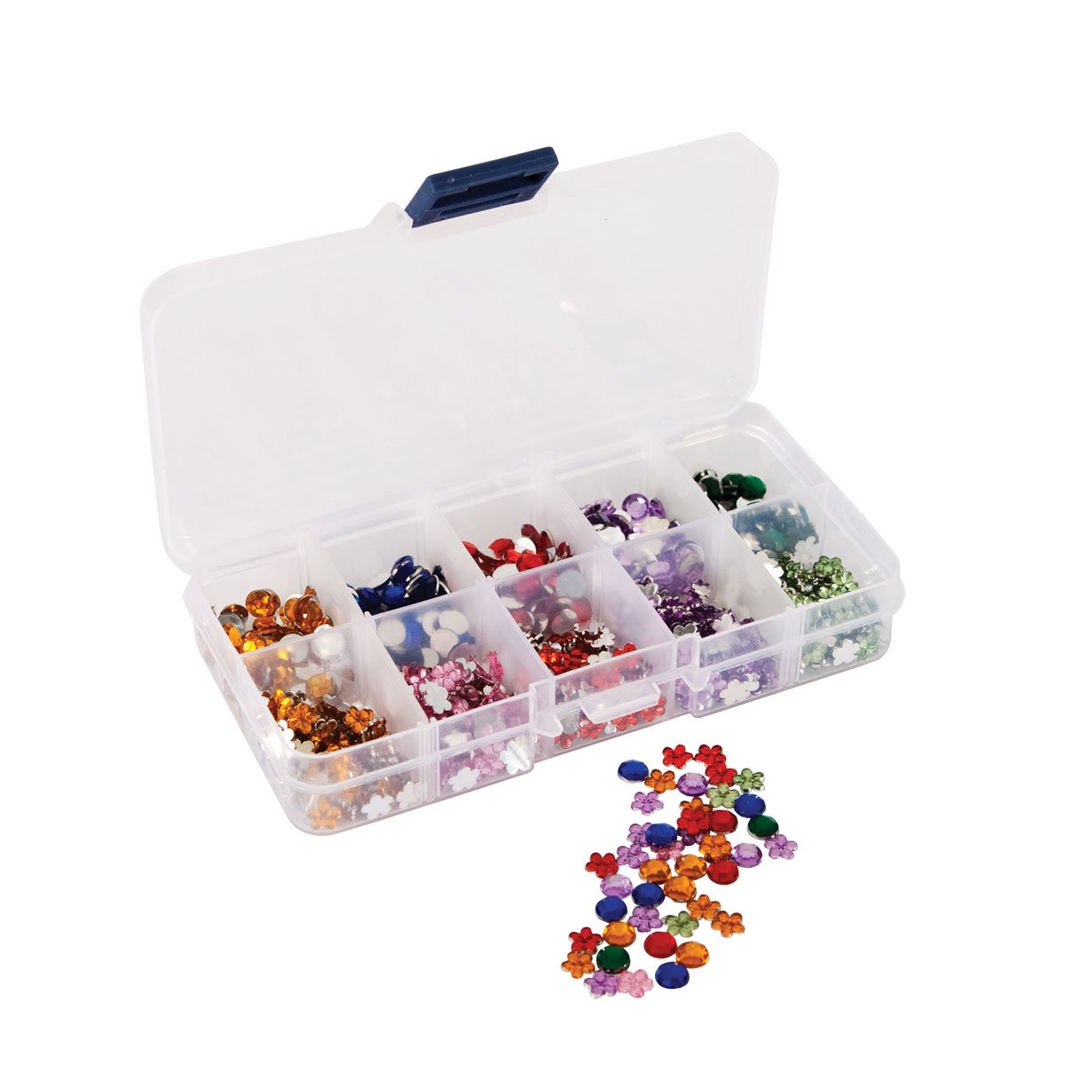 Papermania 750-Piece Mini Floral and Stone Gems with Organiser, Multi-Colour Docrafts PMA351003