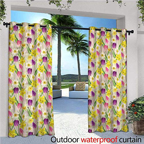 Crown Tulip Stems - warmfamily Daffodils Balcony Curtains Tulip Stems Leaves Summer Outdoor Patio Curtains Waterproof with Grommets W72 x L84