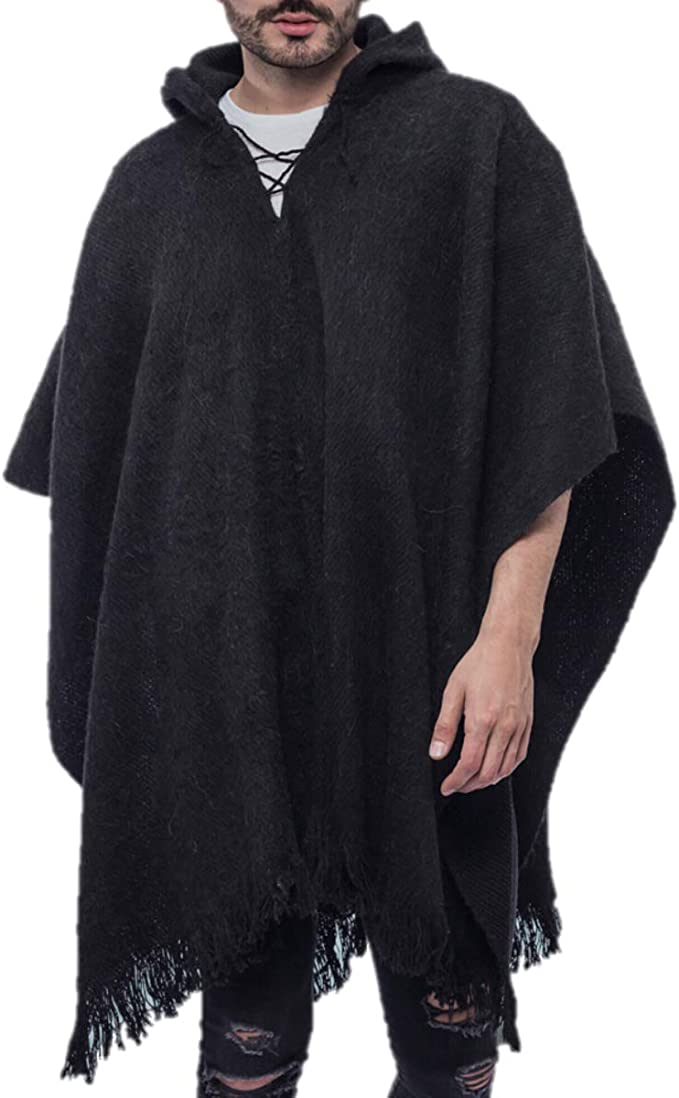 Poncho Wool Mens Cape Original Cloak Perfect Gift Handwoven South American Pullover Brown Coat Unisex