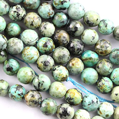 African Turquoise Gem (Natural African Turquoise Round for Necklace Gemstone Loose Beads (Faceted 10mm))