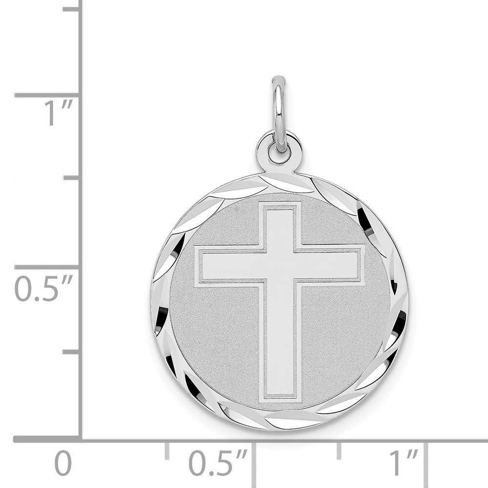 Solid 925 Sterling Silver Cross Disc Pendant Charm 20mm x 25mm