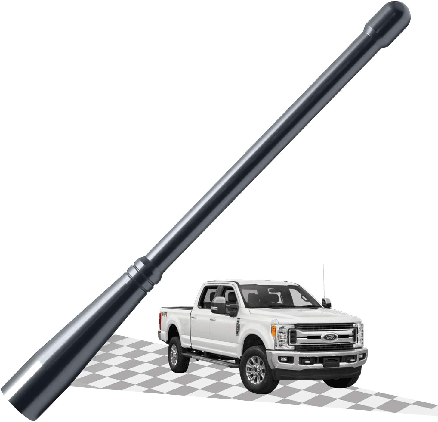 Elitezip Antenna Compatible with Dodge RAM 2500 2012-2018 3.2 Inches Carbon/ Black Optimized AM//FM Reception with Tough Material