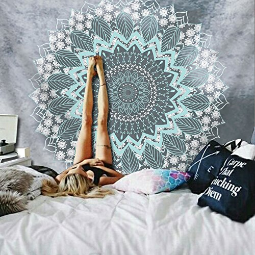 """BLEUM CADE Tapestry Mandala Hippie Bohemian Tapestries Wall Hanging Flower Psychedelic Tapestry Wall Hanging Indian Dorm Decor for Living Room Bedroom (59.1\""""Ã\u009782.7\"""", Mandala Tapestry)"""