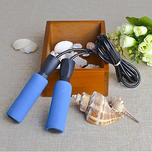 Genonaute réglable Roulement éponge Poignée Skip Corde Cordon Fitness saut d'exercice d'équipement (Bleu)