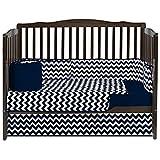 BabyDoll Chevron Dot Crib Bedding Set, Navy
