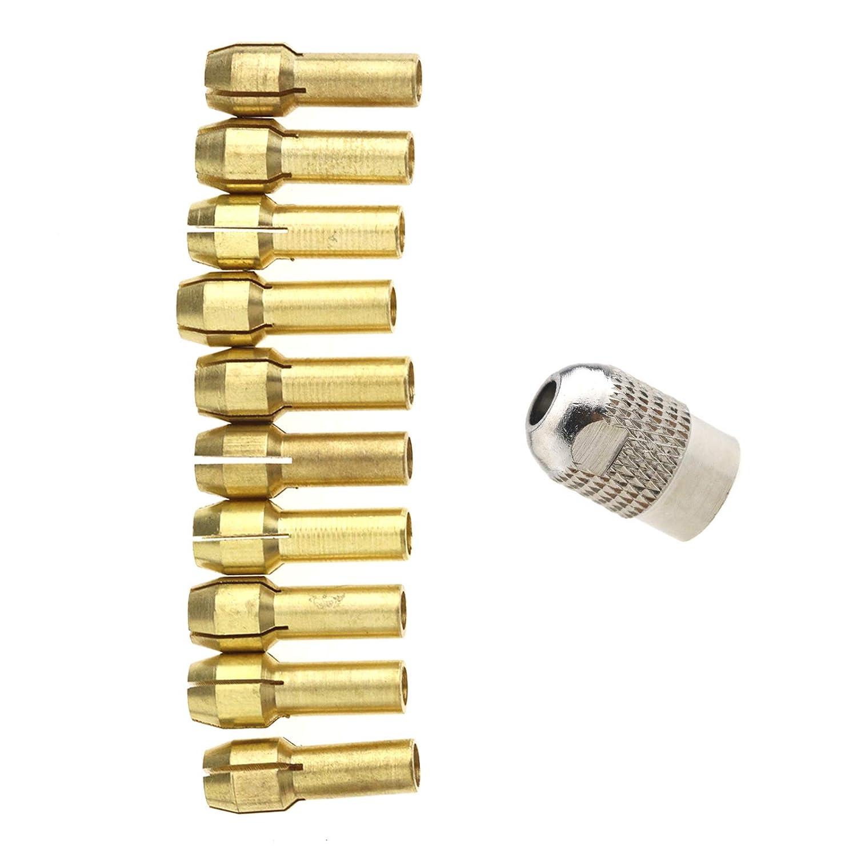 3,2 mm Dremel Etc Herramientas rotativas con 1 portabrocas M8 10 Brocas de lat/ón para coletero de 0,5