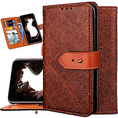 IPHONE X Wallet Case for Women,iphone X Purse Case,Auker Girly Vintage Book Leather Folio Flip Folding Stand Slim Fit Cover with 3 Card Holder&Hidden Wallet Cash Pocket for iphone X 5.8 (Brown)