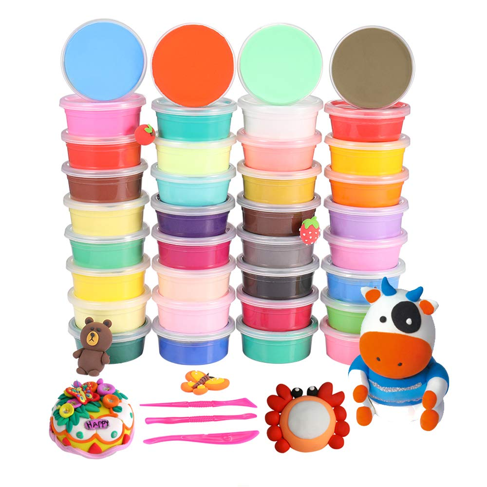 36 Colors Air Dry Clay Modeling Clay, Moulding Craft Clay, Super Light Clay Set for Kids and Teens with Tools, Creative Art DIY Crafts Clay Dough, Best Gift for Kids iFergoo