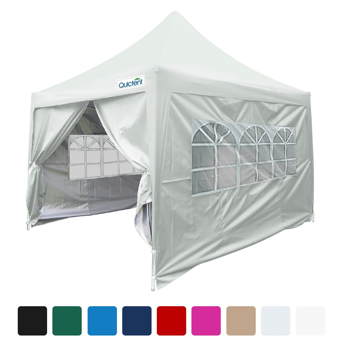 Quictent Silvox Waterproof 8x8' EZ Pop Up Canopy Gazebo Party Tent Portable Pyramid-roofed Waterproof-7 colors (Silver)