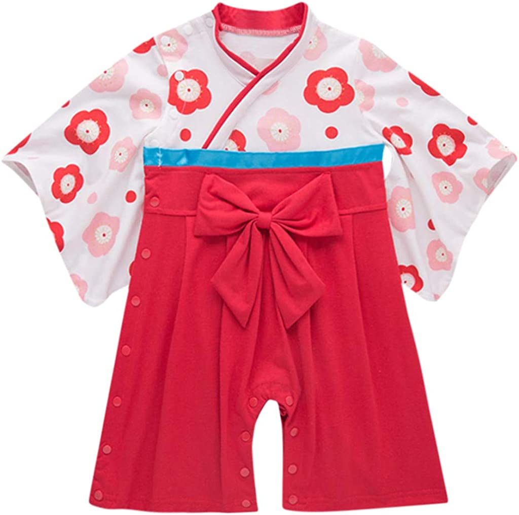 Kimono Bow Romper Infant Baby Girls Flower Traditional Costumes Japanese Clothes