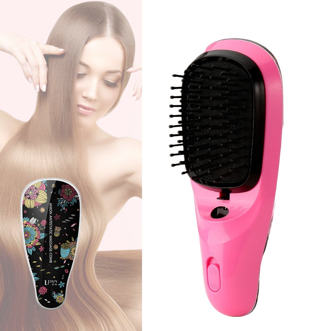 Lookathot Mini Portable Hair Straightener Brush Detangling USB Rechargeable Hair Styling Comb Anion Hair Massager Travel Light Weight (Black) by Lookathot (Image #1)