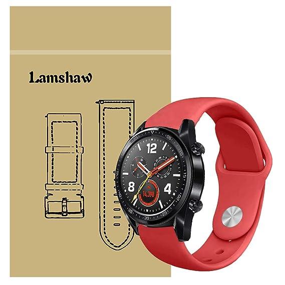 for Huawei Watch GT Band, Lamshaw Sport Silicone Replacement Strap for Huawei Watch GT Watch (Red)